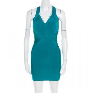 Herve Leger Jade Green Cross Back Detail Mini Bandage Dress XS - used