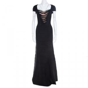 Herve Leger Black Knit Fringed Bodice Lora Bandage Mermaid Gown XS used