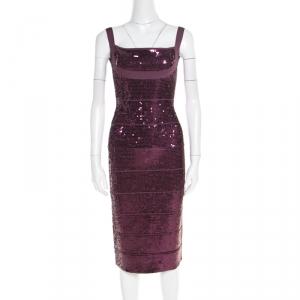 Herve Leger Prune Sequined Bandage Dress M - used