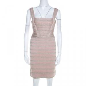 Herve Leger Light Pink and Metallic Crochet Knit Alyia Bandage Dress M - used