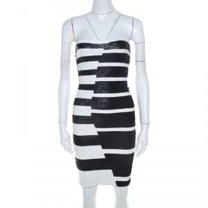 Hervé Leger Black and White Sequined Piano Strapless Cocktail Dress XS - used