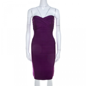Herve Leger Purple Knit Strapless Signature Essential Dress XS - used