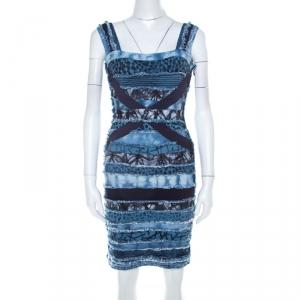Herve Leger Blue Knit Denim Patch Detail Bandage Dress XS - used