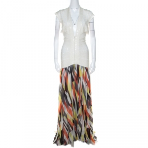 Herve Leger White Sequin Knit and Multicolor Printed Chiffon Backless Maxi Dress S - used