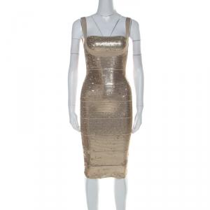 Herve Leger Antique Gold Sequinned Bandage Dress XXS