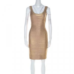 Herve Leger Brushed Gold Bandage Sleeveless Mini Dress XS