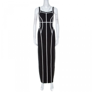 Herve Leger Black Sleeveless White Piping Detail Helena Bandage Gown XS