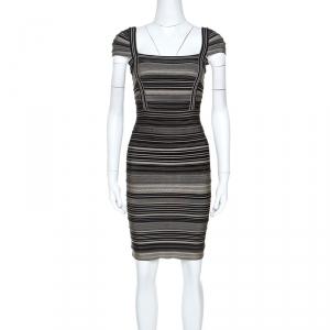 Herve Leger Bicolor Striped Sandra Bandage Dress M - used