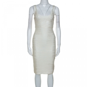 Herve Leger White Foil Printed Knit Ginny Bandage Dress S