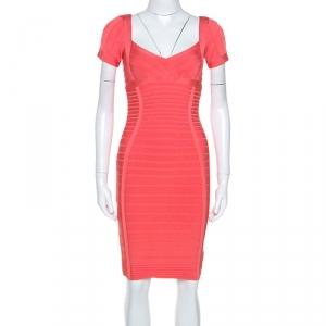 Herve Leger Coral Pink Cold Shoulder Bandage Dress S - used