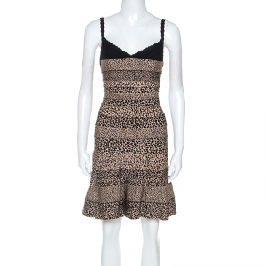 Herve Leger Black and Beige Animal Pattern Knit Nell Bandage Dress XS