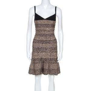فستان هيرفي ليجي تريكو نقشة الفهد أسود وبيج XS