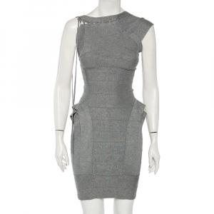 Herve Leger Heather Grey Layered Bandage Mini Dress S