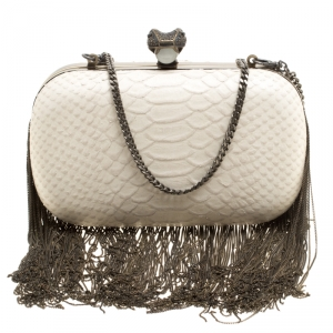 House of Harlow 1960 Off White Python Embossed Leather Jude Clutch