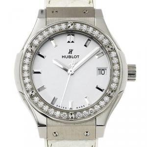 Hublot White Titanium Diamond Classic Fusion Women's Wristwatch 32MM
