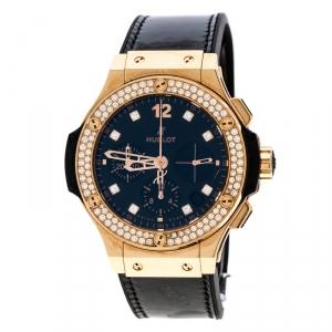 Hublot Black Diamond 18k Rose Gold Big Bang Women's Wristwatch 44MM