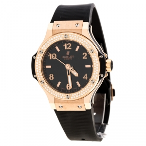 Hublot Black 18K Rose Gold Diamonds Big Bang Women's Wristwatch 38MM