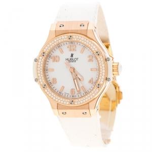 Hublot White 18K Rose Gold Diamonds Big Bang Women's Wristwatch 38 mm