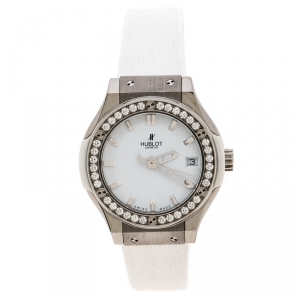 Hublot White Titanium and Stainless Steel Diamond Classic Fushion Women's Wristwatch 33 MM