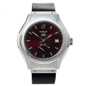 Hublot Burgundy Stainless Steel Classic MDM 1831.1 Unisex Wristwatch 40 mm