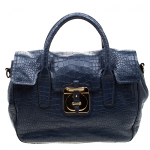 Hugo Boss Blue Crocodile Embossed Leather Cleide-C Satchel