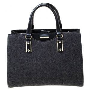 Hugo Boss Black Wool and Leather Tote