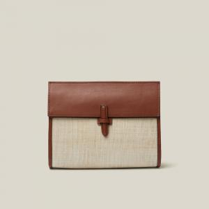 HUNTING SEASON Neutral Leather and Woven Clutch