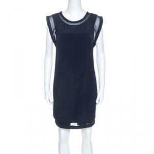 IRO Navy Blue Georgette Semi Sheer Cilia Mini Dress M - used