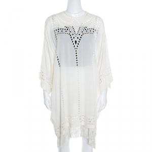 Isabel Marant Etoile Cream Cutout Embroidered Detail Fringed Enery Dress S