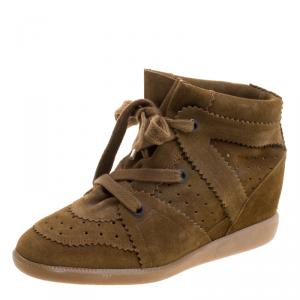 Isabel Marant Brown Perforated Suede Etoile Wedge Sneakers Size 40