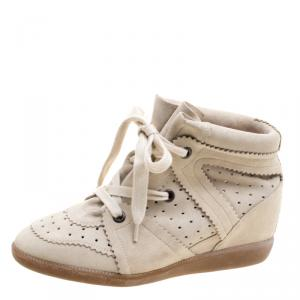 Isabel Marant Beige Perforated Suede Etoile Wedge Sneakers Size 40