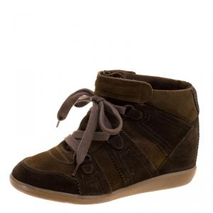 Isabel Marant Two Tone Suede Bobby Lace Up Wedge Sneakers Size 40