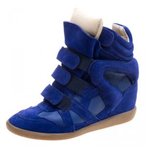 Isabel Marant Cobalt Blue Suede and Leather Burt Wedge Sneakers Size 41