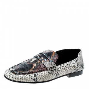 Isabel Marant Multicolor Python Embossed Leather Fezzy Penny Loafers Size 37