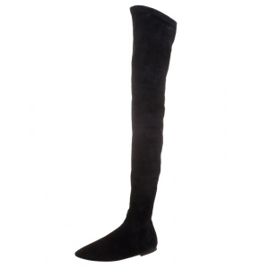 Isabel Marant Black Stretch Suede Brenna Over the Knee Thigh High Boots Size 37