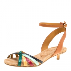 Isabel Marant Multicolor Leather Pulse Ankle Wrap Sandals Size 38