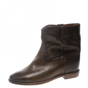 Isabel Marant Brown Leather Cluster Ankle Boots Size 41