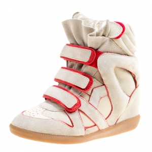 Isabel Marant Grey Suede with Metalllic Red Leather Trim Bekett Wedge Sneakers Size 35