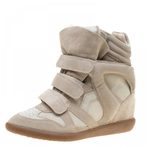Isabel Marant Beige Suede And Leather Bekett Wedge Sneakers Size 41