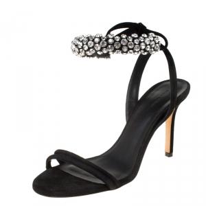Isabel Marant Black Suede Alrin Crystal Embellished Ankle Strap Sandals Size 38