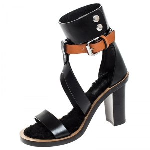 Isabel Marant Black/Tan Leather Jenyd Ankle Wrap Open Toe Sandals Size 37