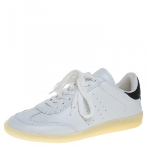 Isabel Marant White/Black Leather Trainers Low Top Sneakers Size 39 -