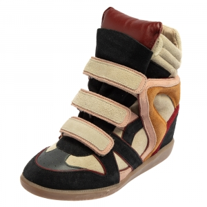 Isabel Marant Multicolor Suede Leather Bekett Wedge High Top Sneakers Size 38 - used