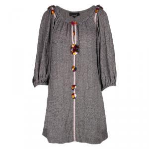 Isabel Marant Grey Floral Detail Long Sleeve Dress S