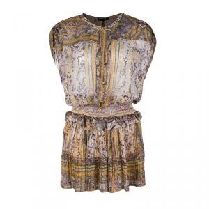 Isabel Marant Paisley Print Smocked Silk Gauze Viola Dress S