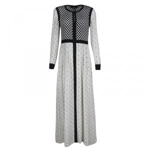 Isabel Marant Monochrome Printed Silk Long Sleeve Melissande Maxi Dress M