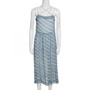 Isabel Marant Etoile Blue and White Striped Silk Chiffon Sleeveless Dress S
