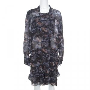 Isabel Marant Grey Printed Silk Belted Carla Dress M - used
