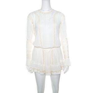 Isabel Marant Off White Cotton Smocked Waist Yoke Lace Peasant Dress S