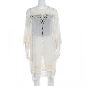 Isabel Marant Etoile Cream Embroidered Ladder Lace Insert Tasseled Hem Kaftan S